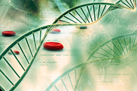 Digital illustration of  DNA in abstract background Stok Fotoğraf - 17048631