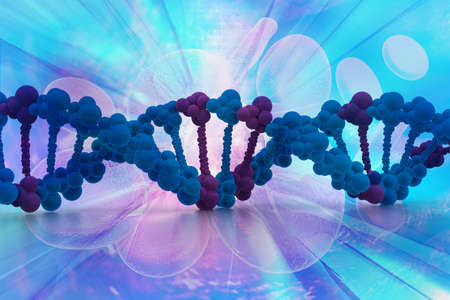 genetically: 3d DNA strands on abstract background