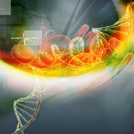 raytrace: Digital illustration of  DNA with blood cell Stock Photo