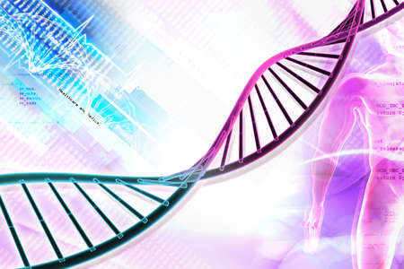 raytrace: Digital illustration of  DNA in abstract background