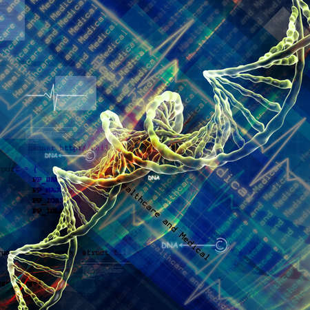 genetically: Digital illustration of  DNA