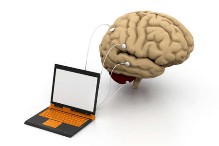 computer connected to a human brain Stock Photo - 18309558