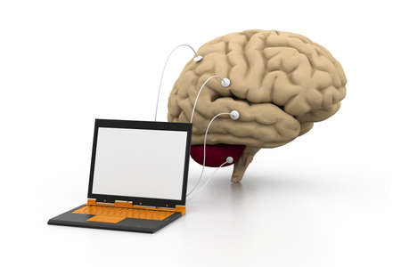 computer connected to a human brain  photo