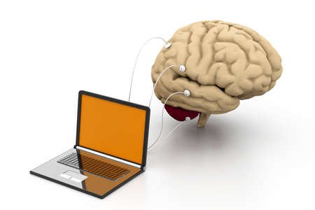 computer connected to a human brain Stock Photo - 18309554