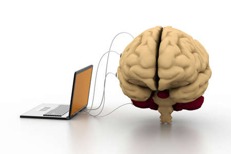 computer connected to a human brain Stock Photo - 18309563