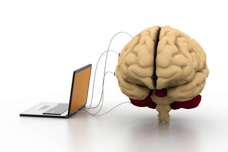 investigaci�n: ordenador conectado a un cerebro humano Foto de archivo