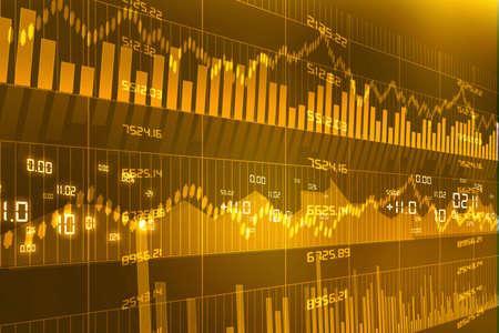 Stock Market Chart on yellow  Background