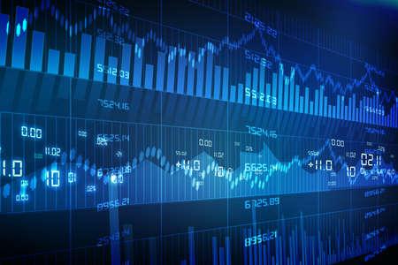 economia: Gr�fico de Valores de Mercado en el fondo azul Foto de archivo
