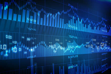 share market: Stock Market Chart on Blue Background
