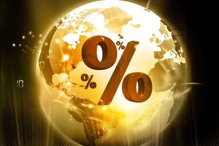 economize: Globe with Percentage symbols on the abstract background   Stock Photo
