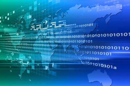 space program: Binary code on world map