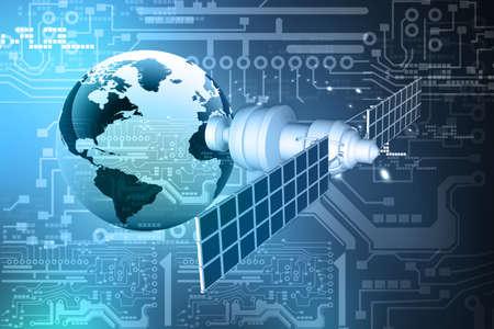 satellite sur l'orbite de la Terre, sur fond de technologie abstraite