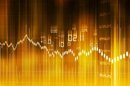 Stock Market Graph und Balkendiagramm