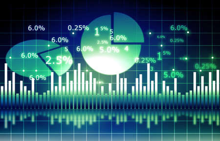 The Stock Market graph with  pie chart and world Foto de archivo