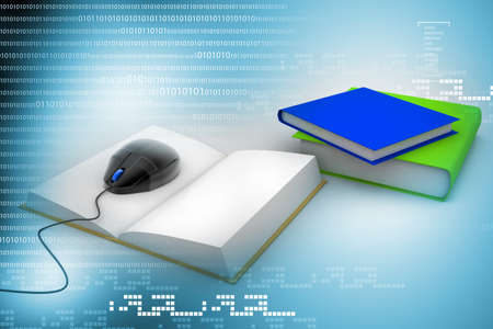 3d Computer mouse and books - e-learning concept   photo
