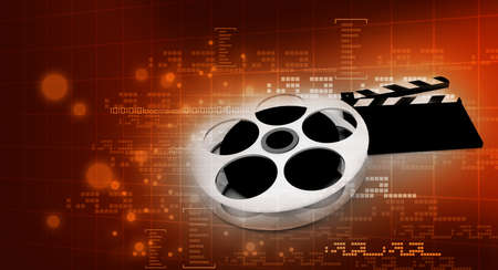 cinema background: 3d illustration of cinema clap and film reel, over abstract background