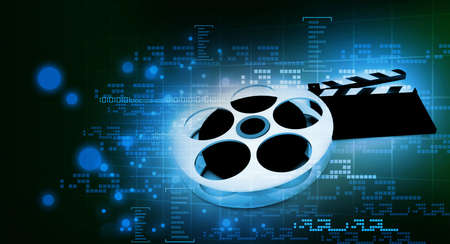 3d illustration of cinema clap and film reel, over abstract background