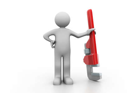 communication tools: plumber holding a big Pipe Wrench  Stock Photo