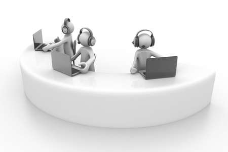 callcenter: 3d person with headphone and a laptop  Call center