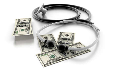 graft: medical stethoscope and dollars