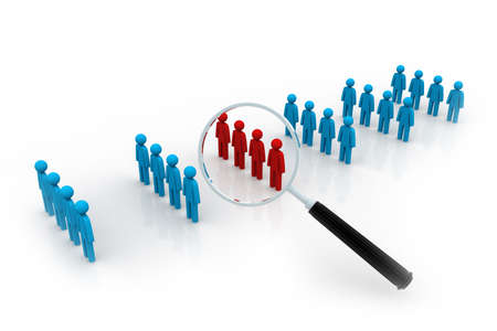 demographics: Focus Group  Magnifying glass   Stock Photo