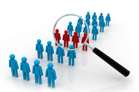 demographics: Focus Group  Magnifying glass   Stock Photo