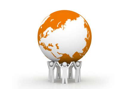 De sterke eenheid 3d mensen die de aarde