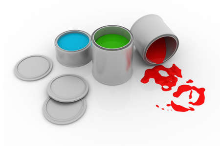 secondary colors: pain cans with vibrant color paint Stock Photo