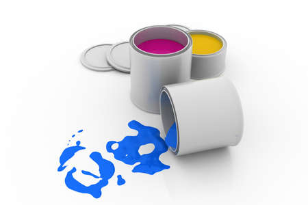 spillage: pain cans with vibrant color paint Stock Photo