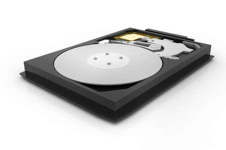 disco duro: abrir la unidad de disco duro aislado en el fondo blanco