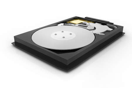 hdd: opened hard drive disk isolated on the white background