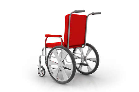 three dimensional accessibility: Empty wheelchair on white isolated background