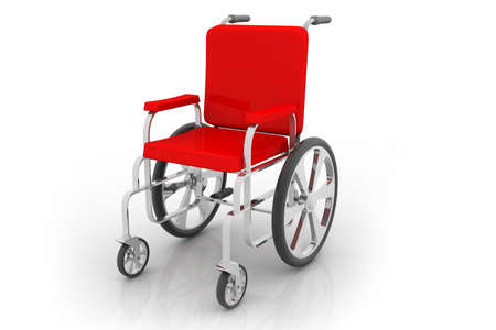 traffic accident: Empty wheelchair on white isolated background