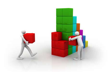 maximize: two people working hard to maximize company profit    Stock Photo