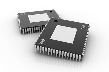 chip and pin: Electronic integrated circuit chip on a white background Stock Photo