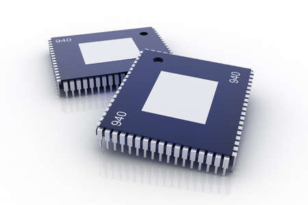 microprocessor: Electronic integrated circuit chip on a white background Stock Photo