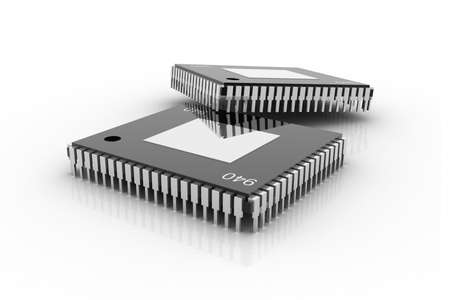 Electronic integrated circuit chip on a white background Foto de archivo