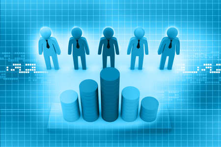 3d business people with graph  photo