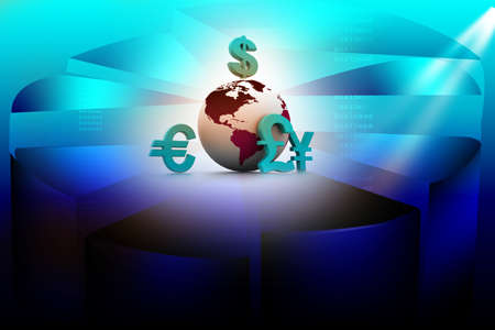 Currency symbols around earth  photo