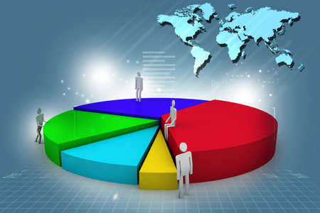 3d small people: business people and 3d pie chart Stock Photo