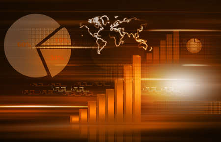 risk analysis: The Stock Market graph with  pie chart and world