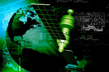 orbital spacecraft: satellite  at the Earth orbit on abstract technology background Stock Photo