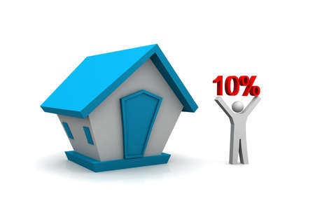 Real estate concept   man holding 10 percentage in his hand photo
