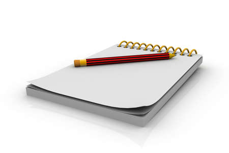 jotter: Notepad and pencil  3D illustration
