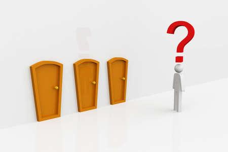 the same: Same doors  Businessman thinking  Stock Photo