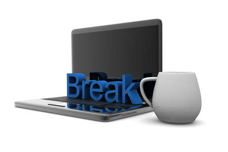 Cappuccino cup with laptop  Business break   photo