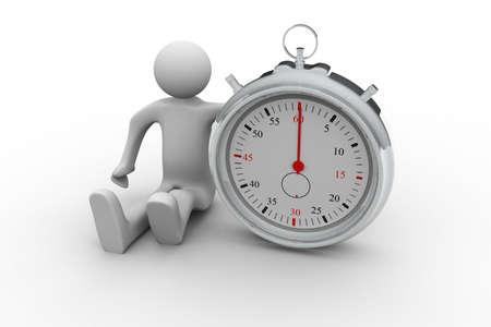 punctual: Hombre de negocios 3d y cron?metro