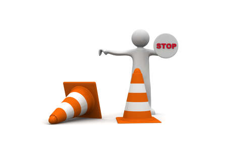 3d white people stop sign with traffic cones isolated white background, 3d image photo