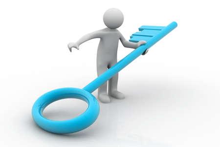 crucial: Illustration of a man holding a big key