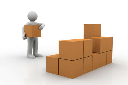 3d man stacking some cardboard boxes Stock Photo - 19859989